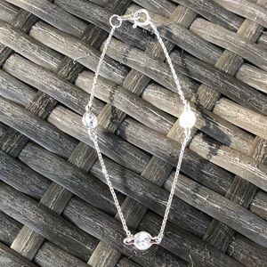 """Vintage SETA Solid Sterling Silver CZ Bracelet 7"""""""